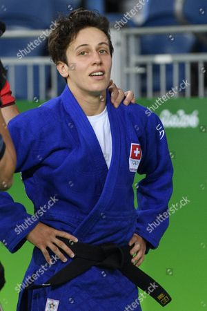 Evelyne Tschopp of Switzerland Reacts Before Her Bout Against Priscilla Gneto of France During the Women's -52kg Bout of the Rio 2016 Olympic Games Judo Events at the Carioca Arena 2 in the Olympic Park in Rio De Janeiro Brazil 07 August 2016 Brazil Rio De Janeiro