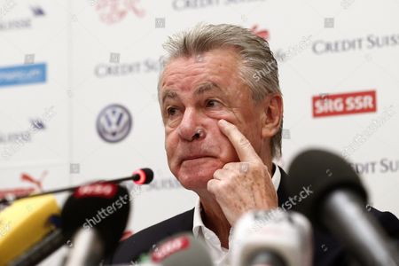 Swiss National Soccer Team's German Head Coach Ottmar Hitzfeld Reacts During a Press Conference in Sao Paulo Brazil 02 July 2014 Switzerland Failed to Reach the Fifa World Cup 2014 Quarter Finals After Being Defeated 1-0 by Argentina in Their Round of 16 Match at the Arena Corinthians in Sao Paulo on 01 July 2014 Brazil Sao Paulo