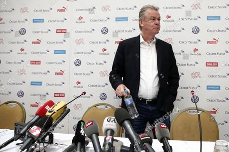 Swiss National Soccer Team's German Head Coach Ottmar Hitzfeld Attends a Press Conference in Sao Paulo Brazil 02 July 2014 Switzerland Failed to Reach the Fifa World Cup 2014 Quarter Finals After Being Defeated 1-0 by Argentina in Their Round of 16 Match at the Arena Corinthians in Sao Paulo on 01 July 2014 Brazil Sao Paulo