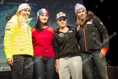 Lindsey Vonn (l) of the Usa French Paralympic Champion Marie Bochet (2-l) Lara Gut (2-r) of Switzerland and Tina Maze (r) of Slovenia Pose For Photographers During a Press Conference Prior to the Alpine Skiing World Cup Races in Val D'isere France 18 December 2014 the Women's Alpine Skiing World Cup Races in Val D'isere Will Take Place From 19 to 21 December 2014 France Val D'isere