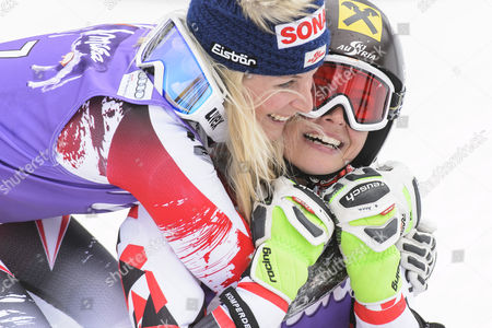 Anna Fenninger (r) of Austria Reacts with Eva-maria Brem of Austria in the Finish Area During the Second Run of the Women's Giant-slalom Race at the Fis Alpine Skiing World Cup Finals in Meribel France 22 March 2015 France Meribel