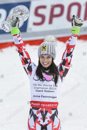 Anna Fenninger of Austria Celebrates with the Crystal Globe Winning the Overall Women's Giant-slalom Competition During the Women's Giant-slalom Race at the Fis Alpine Skiing World Cup Finals in Meribel France 22 March 2015 France Meribel