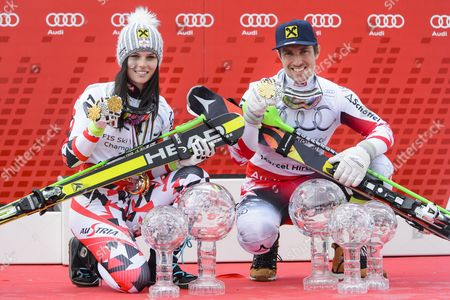 Anna Fenninger (l) and Marcel Hirscher From Austriaápose with Their Trophies at the Alpine Skiing World Cup Finals in Meribel France 22 March 2015 France Meribel