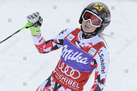 Anna Fenninger of Austria Reacts in the Finish Area During the First Run of the Women's Giant-slalom Race at the Fis Alpine Skiing World Cup Finals in Meribel France 22 March 2015 France Meribel