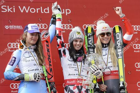 (l-r) Second Placed Tina Maze of Slovenia Winner Anna Fenninger of Austria and Third Placed Lindsey Vonn of the Usa Celebrate During the Podium Ceremony of the Women's Giant Slalom Race at the Fis Alpine Skiing World Cup Finals in Meribel France 22 March 2015 France Meribel