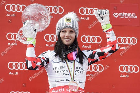Anna Fenninger of Austria Poses with the Women's Alpine Skiing World Cup Overall Trophy During the Podium Ceremony of the Fis Alpine Skiing World Cup Finals in Meribel France 22 March 2015 France Meribel