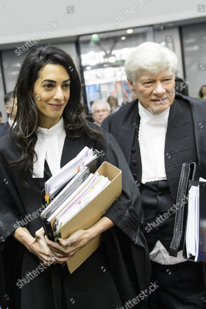 Lawyer Amal Alamuddin Clooney (l) and Lawyer Geoffrey Robertson (r) Arrive For the Hearing in the Case Perincek Vs Switzerland at the European Court of Human Rights (echr) in Strasbourg France 28 January 2015 the European Court of Human Rights Holds a Grand Chamber Hearing in the Case Between Turkish Political Activist Dogu Perincek and Switzerland Concerning Freedom of Expression Perincek was Convicted by a Swiss Court Following Comments Denying the Armenian Genocide During a Visit in Switzerland 2007 France Strasbourg