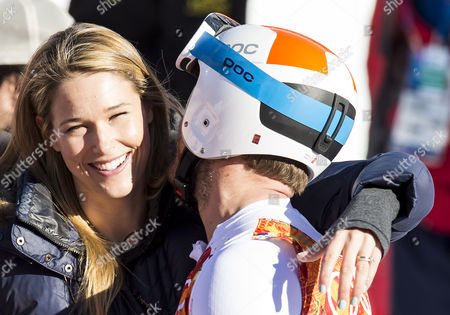 Bode Miller of the Usa Stands Alongside His Wife Morgan Beck Miller After His Run in the Downhill Portion of the Men's Super Combined Competition at the Rosa Khutor Alpine Center During the Sochi 2014 Olympic Games Krasnaya Polyana Russia 14 February 2014 Russian Federation Krasnaya Polyana