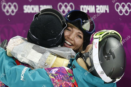 Kaitlyn Farrington of Usa (center 1st Place) is Hugged by Torah Bright of Australia (right 2nd Place) and Kelly Clark of Usa (left 3rd Place) in the Finish Area After the Final of the Women's Snowboard Halfpipe Competition at the Xxii Winter Olympics 2014 Sochi in Krasnaya Polyana Russia on Wednesday February 12 2014 Russian Federation Krasnaya Polyana
