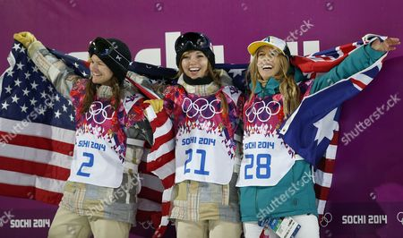 Kaitlyn Farrington of Usa (center 1st Place) Torah Bright of Australia (right 2nd Place) and Kelly Clark of Usa (left 3rd Place) Celebrate in the Finish Area After the Final of the Women's Snowboard Halfpipe Competition at the Xxii Winter Olympics 2014 Sochi in Krasnaya Polyana Russia on Wednesday February 12 2014 Russian Federation Krasnaya Polyana