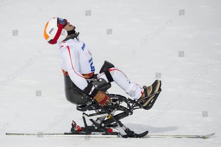 Akira Kano From Japan in the Finish Area During the Men's Downhill Race Lw 11 at the Winter Paralympics 2014 Sochi in Krasnaya Polyana Russia on Saturday March 8 2014 Russian Federation Krasnaya Polyana