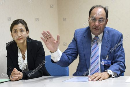 Ingrid Betancourt (l) Former Presidential Candidate For Columbia and Alejo Vidal Quadras (r) Former Vice President of the European Parliament Speak About the Formation of the Committee 'Justice For Victims of 1988 Massacre in Iran' During a Press Conference in Geneva Switzerland 21 September 2016 Previously Secret Mass Graves of Political Prisoners Are to Be Revealed Switzerland Schweiz Suisse Geneva