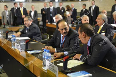 Hoshyar Zibari (l) Minister of Foreign Affairs of the Republic of Iraq and Chair of the Summit of the League of Arab States Looks on As Kuwait Prime Minister Sheikh Sabah Al Ahmed Al Jaber (c) Talks to Qatar Prime Minister and Foreign Minister Sheikh Hamad Bin Jassim Bin Jabr Al-thani (r) Prior to a Meeting of the Action Group For Syria at the European Headquarters of the United Nations in Geneva Switzerland 30 June 2012 the Action Group Are Meeting to Map out Ways to End the Ongoing Bloodshed in the Unrest-hit Middle East Nation Switzerland Schweiz Suisse Geneva