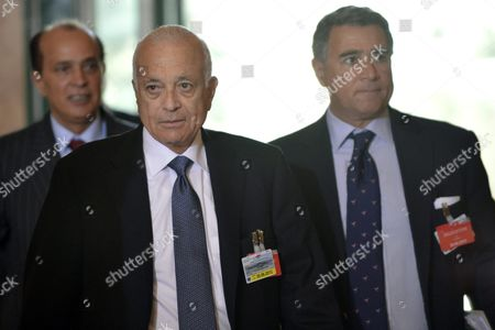 The Secretary General of the Arab League Nabil El Araby (c) Arrives For a Meeting of the Action Group For Syria at the European Headquarters of the United Nations in Geneva Switzerland 30 June 2012 the Action Group Are Meeting to Map out Ways to End the Ongoing Bloodshed in the Unrest-hit Middle East Nation Switzerland Schweiz Suisse Geneva