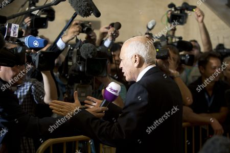 The Secretary General of the Arab League Nabil El Araby Talks to the Media Representatives Upon His Arrival For a Meeting of the Action Group For Syria at the European Headquarters of the United Nations in Geneva Switzerland 30 June 2012 the Action Group Are Meeting to Map out Ways to End the Ongoing Bloodshed in the Unrest-hit Middle East Nation Switzerland Schweiz Suisse Geneva