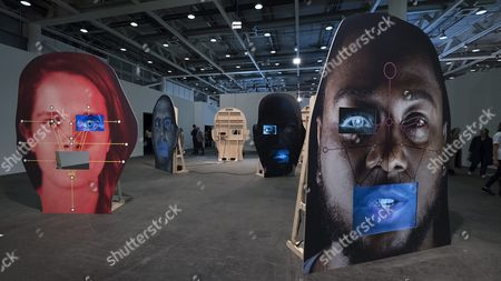 The Artwork 'Template / Variant / Friend / Stranger' (2014) by American Artist Tony Oursler is on Display at the Show Unlimited in the Context of the International Art Show Art Basel in Basel Switzerland 16 June 2016 Unlimited is Art Basel's Exhibition Platform For Projects That Transcend the Limitations of a Classical Art-show Stand Including Out-sized Sculpture and Paintings Video Projections Large-scale Installations and Live Performances Unlimited is Curated by New York-based Curator Gianni Jetzer the Art Basel Exhibition is Open to the Public From 16 to 19 June 2016 Switzerland Schweiz Suisse Basel