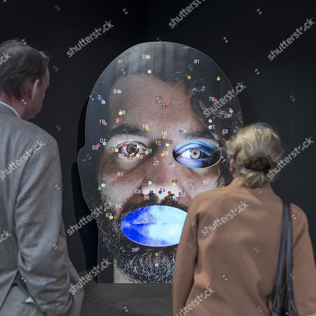 Stock Image of The Artwork 'Nu' by Us Artist Tony Oursler is on Display at the International Art Show Art Basel in Basel Switzerland 15 June 2016 the Exhibition is Open to the Public From 16 to 19 June Switzerland Schweiz Suisse Basel