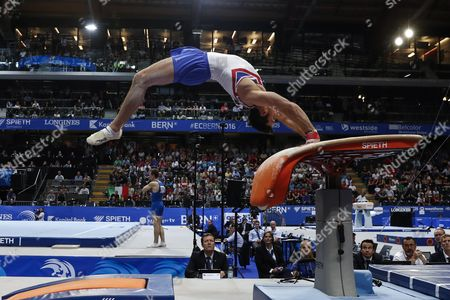 Britain's Kristian Thomas Performs on the Vault During the Men's Team Final at the European Men's and Women's Artistic Gymnastics Championships at the Postfinance Arena in Bern Switzerland 28 May 2016 Switzerland Schweiz Suisse Bern