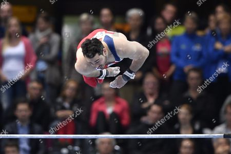 Kristian Thomas From Britain Performs on the Horizontal Bar During the Men's Apparatus Finals at the European Men's and Women's Artistic Gymnastics Championships at the Postfinance Arena in Bern Switzerland 29 May 2016 Switzerland Schweiz Suisse Bern
