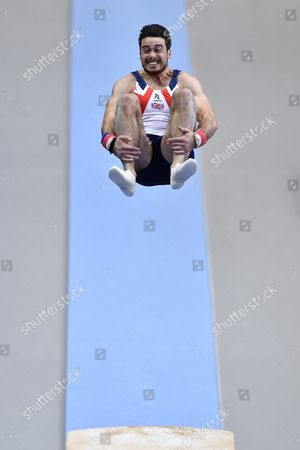 Kristian Thomas From Britain Performs on the Vault During the Men's Apparatus Finals at the European Men's and Women's Artistic Gymnastics Championships at the Postfinance Arena in Bern Switzerland 29 May 2016 Switzerland Schweiz Suisse Bern