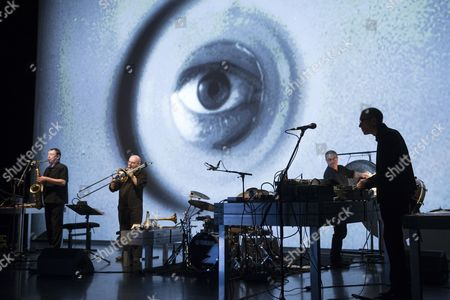 Us-swiss Artist Christian Marclay (r) and Band Rehearse Their Video Concert Performance 'Everyday' During the Biennale Bern in Berne Switzerland 11 September 2014 the Biennale Festival For Contemporary Arts Runs From 11 to 20 September Switzerland Schweiz Suisse Berne