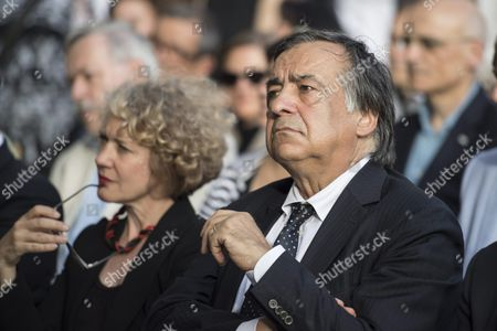 Italian Politician and Mayor of Palermo Leoluca Orlando (r) Member of the Manifesta 12 Team in Palermo Italy in 2018 and Mayor of Zurich Corine Mauch (l) Attend the Opening Ceremony of the European Biennale of Contemporary Art 'Manifesta 11' in Zurich Switzerland 10 June 2016 the Biennale with Several Exhibitions Scattered Around the City Runs From 10 June to 19 September Switzerland Schweiz Suisse Zurich