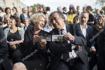 Italian Politician and Mayor of Palermo Leoluca Orlando (c-r) Member of the Manifesta 12 Team in Palermo Italy in 2018 and Mayor of Zurich Corine Mauch (c-l) Attend the Opening Ceremony of the European Biennale of Contemporary Art 'Manifesta 11' in Zurich Switzerland 10 June 2016 the Biennale with Several Exhibitions Scattered Around the City Runs From 10 June to 19 September Switzerland Schweiz Suisse Zurich