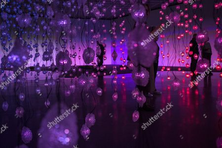 Visitors Look at the Installation of Swiss Artist Pipilotti Rist 'Pixelwald' (pixel Forest) During the Press Preview of Her Exhibition at the Kunsthaus in Zurich Switzerland 25 February 2016 the Event Runs From 26 February to 08 May Switzerland Schweiz Suisse Zurich