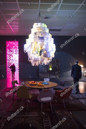 Visitors Walk Near the Installation 'Cape Cod Chandelier' of Swiss Artist Pipilotti Rist During the Press Preview of Her Exhibition at the Kunsthaus in Zurich Switzerland 25 February 2016 the Event Runs From 26 February to 08 May Switzerland Schweiz Suisse Zurich