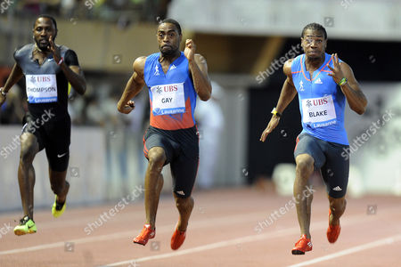 Richard Thompson From Trinidad and Tobago Tyson Gay From the Usa and Yohan Blake From Jamaica Compete in the Mens 100m Race at the Athletissima Iaaf Diamond League Athletics Meeting in the Stade Olympique De La Pontaise in Lausanne Switzerland on Thursday August 23 2012 Switzerland Schweiz Suisse Lausanne