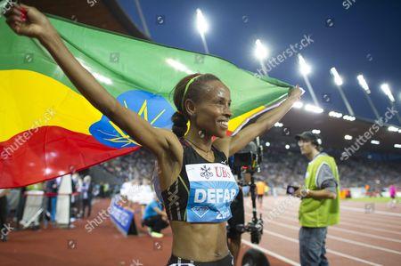 Meseret Defar From Ethiopia Reacts After Winning the Women's 5000m Race During the Weltklasse Iaaf Diamond League International Athletics Meeting in the Letzigrund Stadium in Zurich Switzerland 29 August 2013 Switzerland Schweiz Suisse Zurich