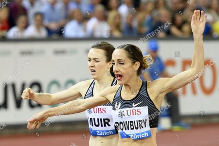Laura Muir From Great Britain Left Competes Next to Shannon Rowbury From the Usa Right in the Women's 1500m Race For the Iaaf Diamond League International Athletics Meeting in Zurich Switzerland 01 September 2016 Switzerland Schweiz Suisse Zurich