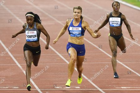 Winner Elaine Thompson From Jamaica Left Competes Next to Dafne Schippers From the Netherlands Centre and Veronica Campbell-brown From Jamaica Right During the Women's 200m Race For the Iaaf Diamond League International Athletics Meeting in Zurich Switzerland 01 September 2016 Switzerland Schweiz Suisse Zurich