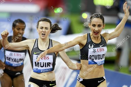 Stock Picture of Laura Muir From Great Britain Left Competes Next to Shannon Rowbury From the Usa Right in the Women's 1500m Race For the Iaaf Diamond League International Athletics Meeting in Zurich Switzerland 01 September 2016 Switzerland Schweiz Suisse Zurich