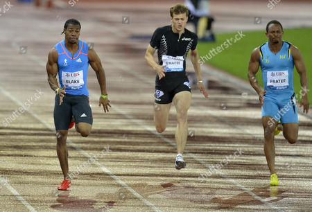 Yohan Blake From Jamaica (l) on His Way Winning the Men's 100m Race During the Weltklasse Iaaf Diamond League International Athletics Meeting in the Letzigrund Stadium in Zurich Switzerland on Thursday August 30 2012 at Right is Jamaica's Michael Frater who Placed 5th and in Centre French Christophe Lemaitre who Placed 6th Switzerland Schweiz Suisse Zurich