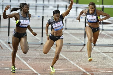 Dawn Harper From the Usa (l) Beats Fellow Countrywoman Kellie Wells (c) and Phylicia George From Canada Winning the Womens 100m Hurdles Race During the Weltklasse Iaaf Diamond League International Athletics Meeting in the Letzigrund Stadium in Zurich Switzerland on Thursday August 30 2012 Wells Placed Third and George 8th Switzerland Schweiz Suisse Zurich