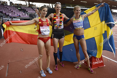 Winner Antje Moeldner-schmidt (c) From Germany Poses with Second Placed Charlotta Fougberg (r) From Seden and Diana Martin (l) From Spain After the Women's 3'000m Steeplechase Final During the European Athletics Championships in the Letzigrund Stadium in Zurich Switzerland 17 August 2014 Switzerland Schweiz Suisse Zurich