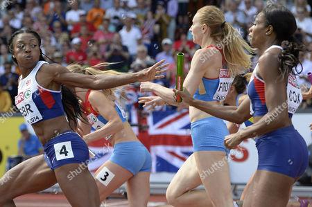 Britain's Shana Cox (r) Passes on the Baton to Margaret Adeoye (l) in the Women's 4x400m Relay Final During the European Athletics Championships 2014 in the Letzigrund Stadium in Zurich Switzerland 17 August 2014 Switzerland Schweiz Suisse Zurich