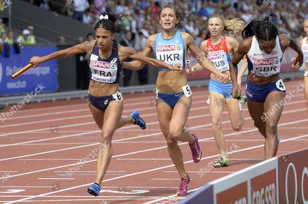Britain's Margaret Adeoye (r) Competes Next to France's Flora Guei (l) and Ukraine's Olha Zemlyak (c) in the Women's 4x400m Relay Final During the European Athletics Championships 2014 in the Letzigrund Stadium in Zurich Switzerland 17 August 2014 Switzerland Schweiz Suisse Zurich
