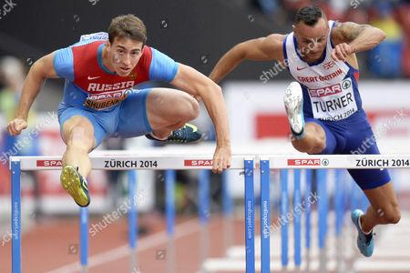 Sergey Shubenkov (l) From Russia and Andy Turner (r) From Britain Compete in the Men's 110m Hurdles Heat During the European Athletics Championships 2014 in the Letzigrund Stadium in Zurich Switzerland 13 August 2014 Switzerland Schweiz Suisse Zurich