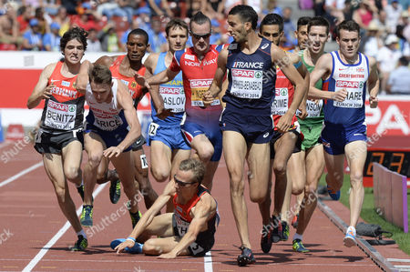 Mahiedine Mekhissi-benabbad (c) From France Timo Benitz (l) From Germany and Chris O'hare (r) Compete While Charlie Grice (2nd L) From Britain and Florian Orth (3rd L) From Germany Fall in the Men's 1'500m Final During the European Athletics Championships in the Letzigrund Stadium in Zurich Switzerland 17 August 2014 Switzerland Schweiz Suisse Zurich