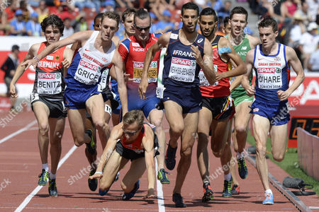Mahiedine Mekhissi-benabbad (c) From France Timo Benitz (l) From Germany and Chris O'hare Compete While Charlie Grice (2nd L) From Britain and Florian Orth (3rd L) From Germany Fall in the Men's 1'500m Final During the European Athletics Championships in the Letzigrund Stadium in Zurich Switzerland 17 August 2014 Switzerland Schweiz Suisse Zurich