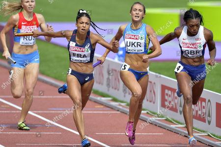 Britain's Margaret Adeoye (r) Competes Next to Ukraine's Olha Zemlyak (c) and France's Flora Guei (l) in the Women's 4x400m Relay Final During the European Athletics Championships in the Letzigrund Stadium in Zurich Switzerland 17 August 2014 Switzerland Schweiz Suisse Zurich