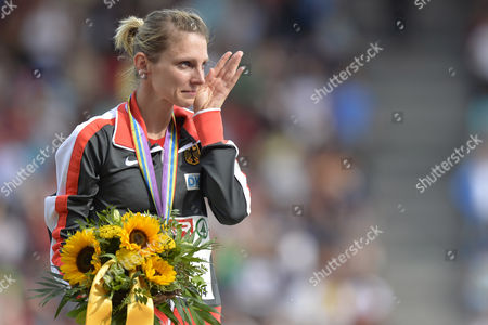 Women's 3'000m Steeplechase Winner Antje Moeldner-schmidt From Germany Reacts on the Podium at the Medal Ceremony at the Sixth Day of the European Athletics Championships in the Letzigrund Stadium in Zurich Switzerland 17 August 2014 Switzerland Schweiz Suisse Zurich