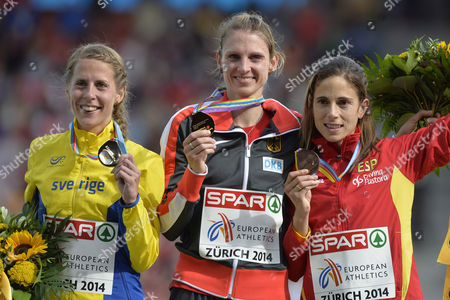 Women's 3'000m Steeplechase Winner Antje Moeldner-schmidt From Germany Centre Second Placed Charlotta Fougberg From Sweden Left and Third Placed Diana Martin From Spain Right Show Their Medals on the Podium at the Medal Ceremony at the Sixth Day of the European Athletics Championships in the Letzigrund Stadium in Zurich Switzerland 17 August 2014 Switzerland Schweiz Suisse Zurich