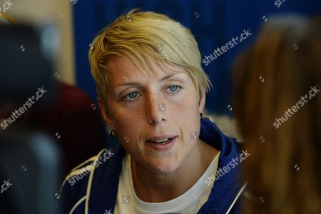 Germanys Javelin Thrower Christina Obergfoell Answers Journalists Questions During a Press Conference in Zurich Switzerland 28 August 2013 Obergfoell Participates in the Iaaf Diamond League Meeting in Zurich on 29 August 2013 Switzerland Schweiz Suisse Zurich
