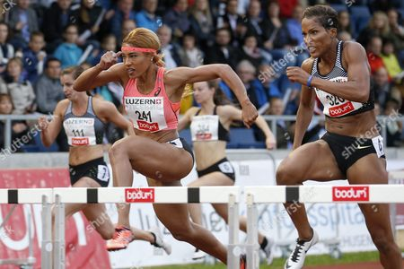Usa's Queen Harrison Left and Canada's Phylicia George Right During the Women's 100 Meter Hurdles at the International Athletics Meeting in Lucerne Switzerland 14 June 2016 Switzerland Schweiz Suisse Luzern
