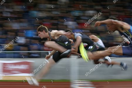 Stock Photo of Great Britain's Lawrence Clarke (l) During the Men's 110m Hurdles Race at the International Athletics Meeting in Lucerne Switzerland 14 June 2016 Switzerland Schweiz Suisse Luzern