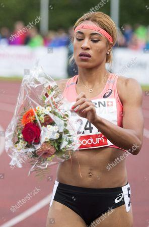 Queen Harrison From Usa After the Women's 100m Hurdles Race at the International Athletics Meeting in Lucerne Switzerland 14 June 2016 Switzerland Schweiz Suisse Luzern