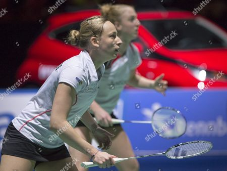 Netherland's Selena Piek Front and Eefje Muskens Back Expect a Serve of China's Yixin Bao and Yuanting Tang During Their Women's Doubles Semifinal Match at the Badminton Swiss Open Tournament in the St Jakobshalle in Basel Switzerland 14 March 2015 Switzerland Schweiz Suisse Basel